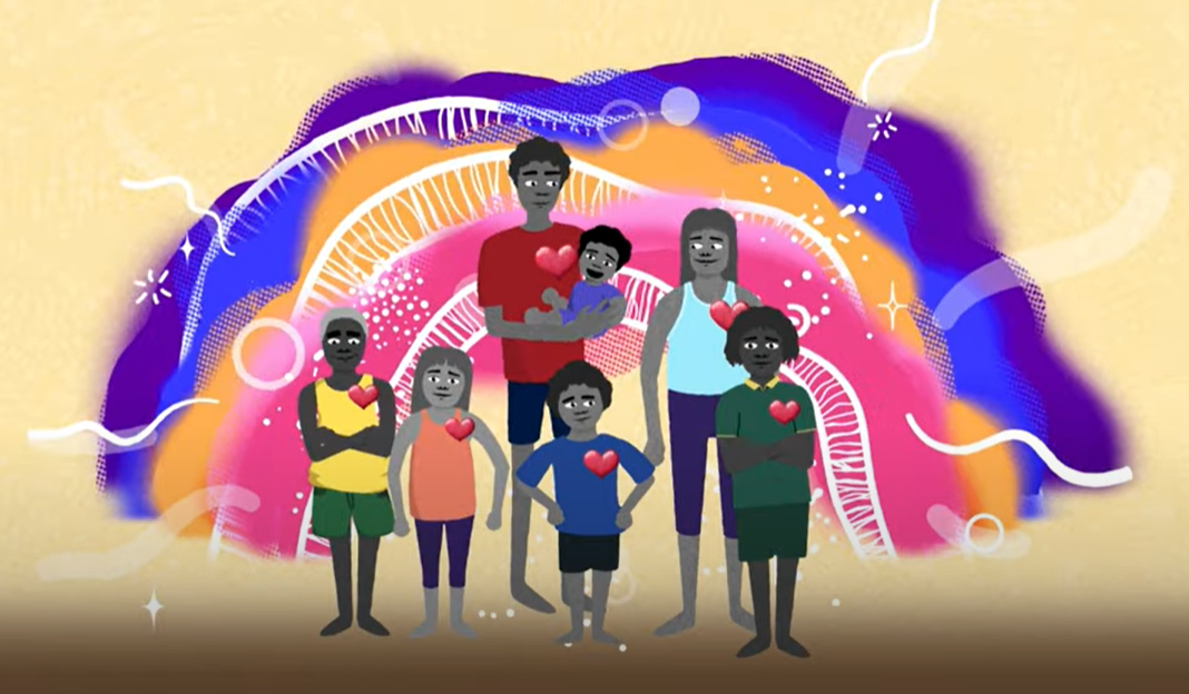 Connections to culture, family, community, country and spirit are crucial to  children's social and emotional wellbeing. Image from The Healing Foundation and Emerging Minds animation.