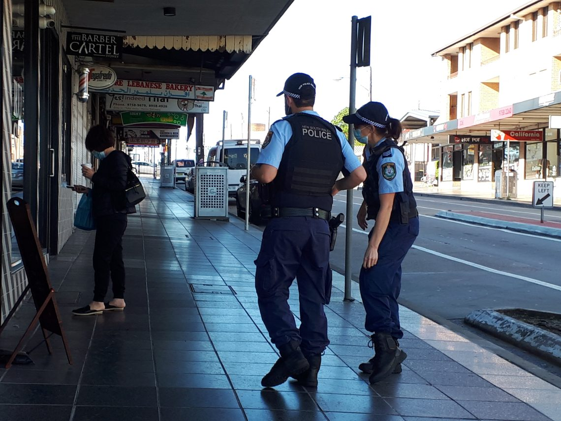 Police are patrolling the streets of Sydney's LGAs of concern. Photo by Cate Carrigan
