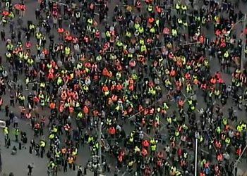 Violent protests in Melbourne during September, 2021. Image via ABC TV