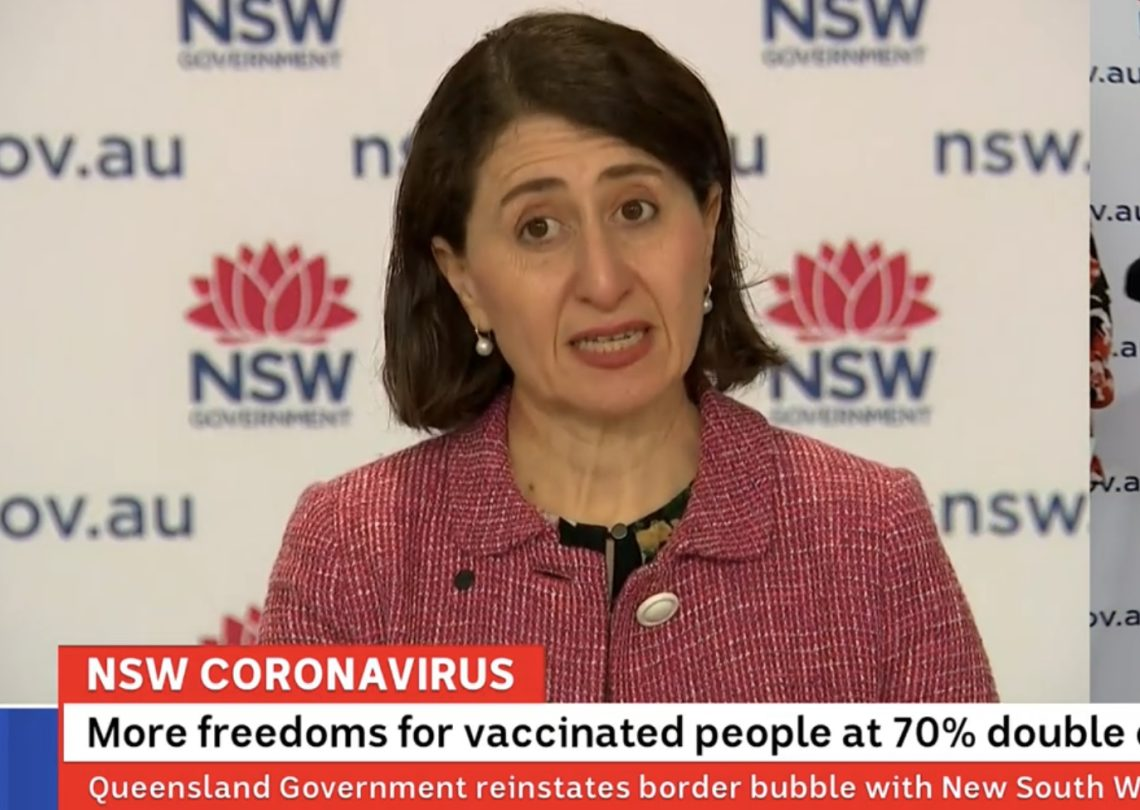 NSW Premier speaking at 10 September press conference. Image sourced ABC TV